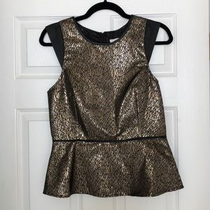 Gold peplum top with faux leather details